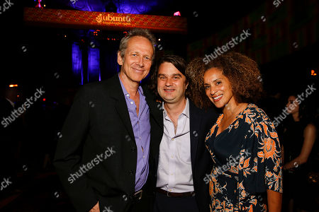 Director Alexandre Rockwell, Ubuntu Founder and CEO Jacob Lief, and Karyn Parsons at the Ubuntu Education Fund Gala at Gotham Hall, on in New York