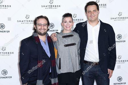 """David Shapiro, Amy Emmerich, Michael A. Pruss. David Shapiro, from left, Amy Emmerich and Michael A. Pruss attend the LA premiere of """"Come Swim"""" at the Landmark Theatre, in Los Angeles"""