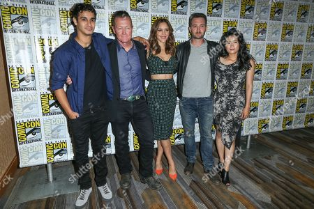 "From left, Elyes Gabel, Robert Patrick, Katharine McPhee, Eddie Kaye Thomas, and Jadyn Wong attend the CBS ""Scorpion"" press line on day 1 of Comic-Con International, in San Diego"