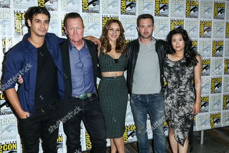 """Stock Photo of From left, Elyes Gabel, Robert Patrick, Katharine McPhee, Eddie Kaye Thomas, and Jadyn Wong attend the CBS """"Scorpion"""" press line on day 1 of Comic-Con International, in San Diego"""