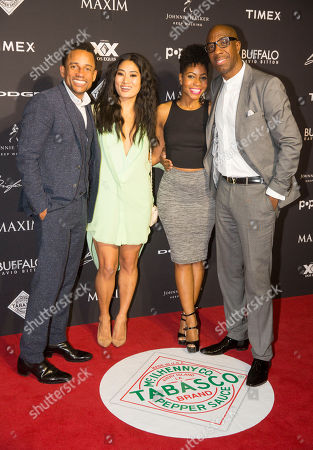 Stock Picture of Hill Harper, Chloe Flower, Shahida Omar and J. B. Smoove arrive at the 2015 Maxim Super Bowl Party on in Scottsdale, Ariz