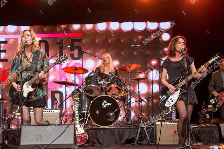 Stock Photo of From left, Vicki Peterson, Debbi Peterson, and Susanna Hoffs of the Bangles during the 2015 She Rocks Awards at the Anaheim Hilton on in Anaheim, Calif