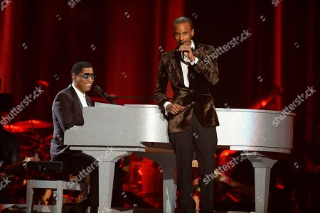 """Stock Picture of Kenny """"Babyface"""" Edmonds, left, and Tevin Campell perform at the 2015 Soul Train Awards at the Orleans Arena, in Las Vegas"""