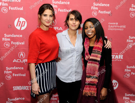 "Kris Swanberg, center, director and co-writer of ""Unexpected,"" poses with cast members Cobie Smulders, left, and Gail Bean at the premiere of the film at the Library Center Theatre during the 2015 Sundance Film Festival, in Park City, Utah"