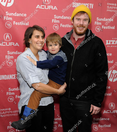 "Kris Swanberg, left, director and co-writer of ""Unexpected,"" poses with her husband, filmmaker Joe Swanberg, and their son Jude at the Library Center Theatre during the 2015 Sundance Film Festival, in Park City, Utah"