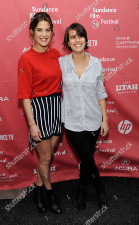 "Kris Swanberg, right, director and co-writer of ""Unexpected,"" poses with cast member Cobie Smulders at the premiere of the film at the Library Center Theatre during the 2015 Sundance Film Festival, in Park City, Utah"