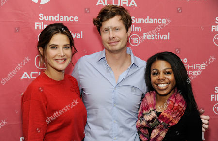 """Unexpected"""" cast members, left to right, Cobie Smulders, Anders Holm and Gail Bean pose together at the premiere of the film at the Library Center Theatre during the 2015 Sundance Film Festival, in Park City, Utah"""