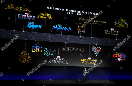 Dave Hollis, executive vice president of theatrical distribution for Walt Disney Studios Motion Pictures, addresses the audience in front of the studio's 2016-2017 release schedule during CinemaCon 2016, the official convention of the National Association of Theatre Owners (NATO), at Caesars Palace, in Las Vegas