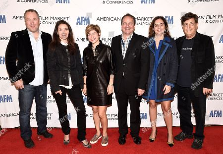 Eric Brenner, President of ETA Films, Tamara Birkemoe, President & COO of Foresight Unlimited, Tannaz Anisi, President of 13 Films, Paul Bales, Partner & COO of The Asylum, Caroline Couret-Delegue, Managing Director of Truffle Pictures, and Paul Hertzberg, President & CEO of CineTel Films, Inc., arrive at the American Film Market Production Conference: Producing for the Pre-Sales Marketplace at the Fairmont Hotel, in Santa Monica, Calif