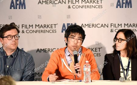 Mike Runagall, Managing Director of Altitude Film Sales, Kevin Iwashina, Founder & CEO of Preferred Content, and Director/Producer Lesley Chilcott speak at the American Film Market Roundtable - Distributing and Monetizing Feature Documentaries at the Loews Santa Monica Beach Hotel, in Santa Monica, Calif