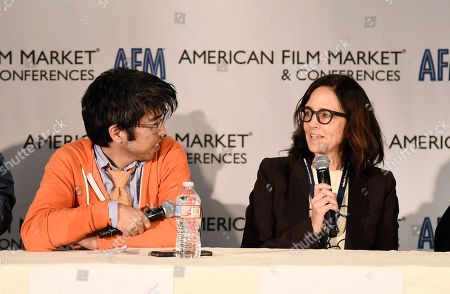 Kevin Iwashina, Founder & CEO of Preferred Content, and Director/Producer Lesley Chilcott speak at the American Film Market Roundtable - Distributing and Monetizing Feature Documentaries at the Loews Santa Monica Beach Hotel, in Santa Monica, Calif