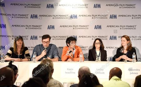 Stock Photo of Lise Romanoff, Managing Director/CEO Worldwide Distribution of Vision Films, Mike Runagall, Managing Director of Altitude Film Sales, Kevin Iwashina, Founder & CEO of Preferred Content, Director/Producer Lesley Chilcott and Producer Alexandra Johnes speak at the American Film Market Roundtable - Distributing and Monetizing Feature Documentaries at the Loews Santa Monica Beach Hotel, in Santa Monica, Calif