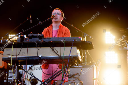 Alexis Taylor from British band Hot Chip performs on the main stage at the Lovebox festival in Victoria Park, London