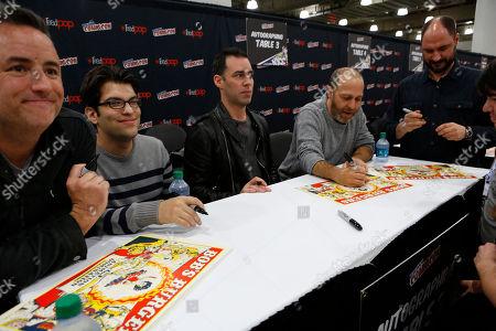 "Larry Murphy, Dan Mintz, John Roberts, H. Jon Benjamin, and Loren Bouchard participate in FOX's ""Bob's Burgers"" panel during New York Comic Con, on at Javits Convention Center, in New York City, NY"