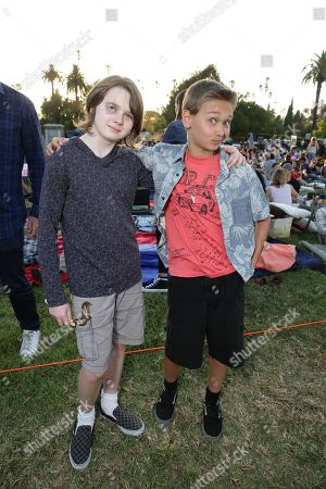 """Stock Photo of Hays Wellford and James Freedson-Jackson seen at Focus World screening of """"Cop Car"""" at the Hollywood Forever cemetery, in Hollywood, CA"""