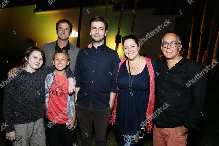 """Stock Image of Hays Wellford, James Freedson-Jackson, Sundance Next Fest director of programming Trevor Groth, Writer/Producer/Director Jon Watts, Camryn Manheim and Sundance Film Festival Director John Cooper seen at Focus World screening of """"Cop Car"""" at the Hollywood Forever cemetery, in Hollywood, CA"""
