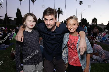 """Hays Wellford, Writer/Producer/Director Jon Watts and James Freedson-Jackson seen at Focus World screening of """"Cop Car"""" at the Hollywood Forever cemetery, in Hollywood, CA"""
