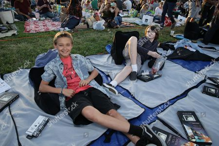 """James Freedson-Jackson and Hays Wellford seen at Focus World screening of """"Cop Car"""" at the Hollywood Forever cemetery, in Hollywood, CA"""