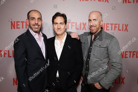 "Creator/Writer/Exec. Producer Glenn Kessler, Creator/Writer/Exec. Producer Daniel Zelman and Creator/Writer/Exec. Producer Todd A. Kessler seen at Netflix ""Bloodline"" Television Academy Screening at the Pacific Design Center, in Los Angeles, CA"