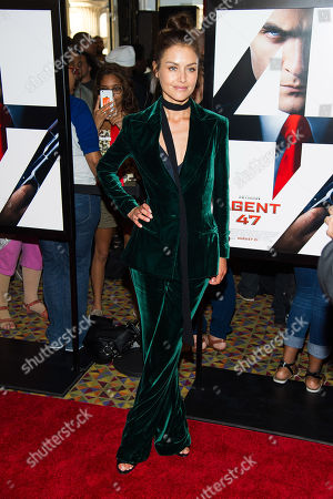 """Hannah Ware attends the premiere for """"Hitman: Agent 47"""" at the AMC Empire 25, in New York"""