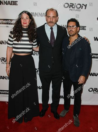 """Producer Lizzie Nastro left, director Nick Sandow and producer Mike Gasparro attend the premiere of """"The Wannabe"""" at the Crosby Street Hotel, in New York"""