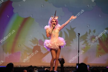 Pandora Boxx performing at Center Stage Theatre, in Atlanta. Hosted by Michelle Visage, featured drag queens on the tour are Jinkx Monsoon, Sharon Needles, Ivy Winters, Carmen Carrera, Pandora Boxx, Phi Phi O'hara and DJ Mimi Imfurst