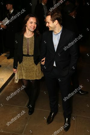 Stock Picture of Zoe Trapper and guest arrives at the The BRIT Awards 2013 - Warner Music & Vanity Fair Afterparty at The Savoy Hotel, in London