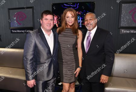 Stock Picture of Time Warner Cable Regional Vice President, Communications Jim Gordon, Jamie Luner, and Mitchell Christopher visit the Time Warner Cable Lounge at the 2012 Divine Design benefiting Project Angel Food, in Beverly Hills, Calf