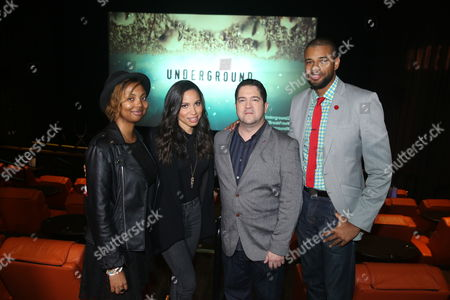 "From left, Misha Green, creator and executive producer, actress Jurnee Smollett-Bell, Joe Pokaski, creator and executive producer, and Michael Ferrera, president of Los Angeles Urban League Young Professionals, are seen at WGN America's ""Underground"" NAACP Screening at iPic Theater on in Los Angeles"