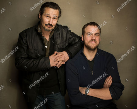 """Nick Damici, left, and Jim Mickle from the film """"We Are What We Are"""" pose for a portrait during the 2013 Sundance Film Festival at the Fender Music Lodge, on Friday, Jan.18, 2013 in Park City, Utah"""