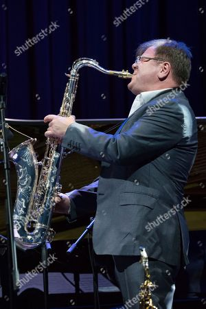 Russian jazz saxophonist Igor Butman performs during a soundcheck before a concert in Moscow, Russia, on Thursday, Nov., 9, 2017
