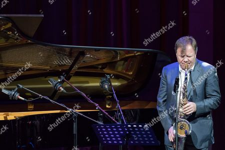 Stock Picture of Russian jazz saxophonist Igor Butman performs during a joint concert together with Gonzalo Rubalcaba in Moscow, Russia, on Thursday, Nov., 9, 2017