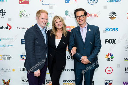 Jesse Tyler Ferguson, left, Lisa Paulsen, and Kyle MacLachlan, right, seen at EIF Canada Press Conference at MaRS Centre on in Toronto, Canada