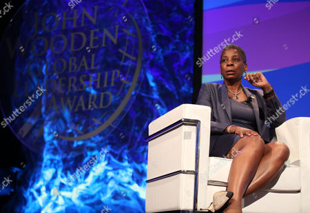 Ursula Burns, chairman and CEO, Xerox Corporation, recipient of the 2015 John Wooden Global Leadership Award, speaks at the Eighth Annual John Wooden Global Leadership Award Dinner at the Beverly Wilshire hotel, in Beverly Hills, Calif