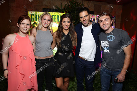 """Stock Photo of Magda Apanowicz, Kirby Bliss Blanton, Lorenza Izzo, Director Eli Roth and Daryl Sabara seen at Eli Roth and BH Tilt """"The Green Inferno"""" at 2015 Comic-Con, in San Diego"""