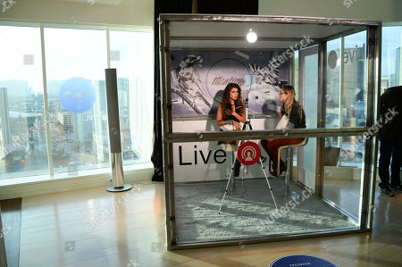 Paula Fernandes broadcasts on a livestream inside the Mentions booth at the Facebook Mentions Lounge inside the MGM Skylofts on in Las Vegas