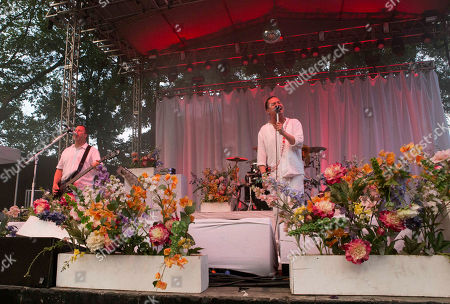 Mike Bordin, Roddy Bottum, Billy Gould, Mike Patton and Jon Hudson with Faith No More performs at the Masquerade Music Park, in Atlanta