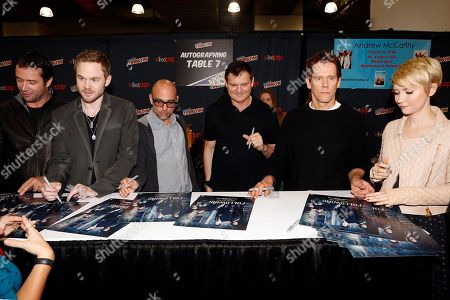 """Stock Image of From left, James Purefoy, Shawn Ashmore, Marcos Siega, Kevin Williamson, Kevin Bacon, and Valorie Curry participate in FOX's """"The Following"""" autograph signing and panel during New York Comic Con, on at Javits Convention Center, in New York City, NY"""