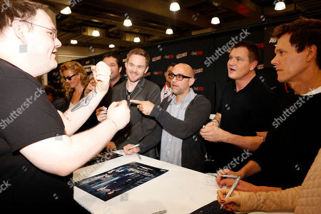 """From left, Connie Nielsen, James Purefoy, Shawn Ashmore, Marcos Siega, Kevin Williamson, and Kevin Bacon participate in FOX's """"The Following"""" autograph signing and panel during New York Comic Con, on at Javits Convention Center, in New York City, NY"""