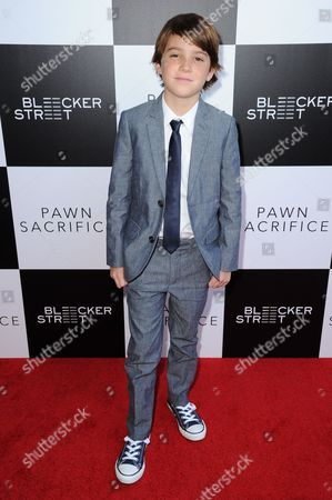 """Aiden Lovekamp arrives at the LA premiere of """"Pawn Sacrifice"""" held at Harmony Gold, in Los Angeles"""