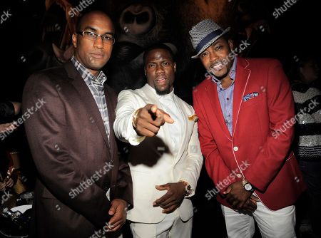"Tim Story, left, director of ""Think Like A Man Too,"" poses with cast member Kevin Hart, center, and the film's producer William Packer at the post-premiere party for the film on in West Hollywood, Calif"