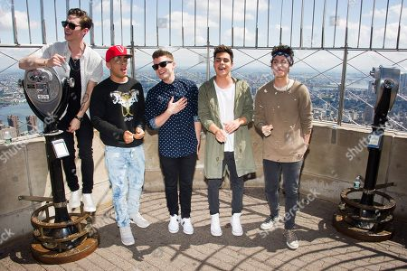 Midnight Red band members, from left, Eric Secharia, Joey Diggs Jr., Colton Rudloff, Thomas Augusto and Anthony Ladao perform on the observation deck of the Empire State Building on in New York