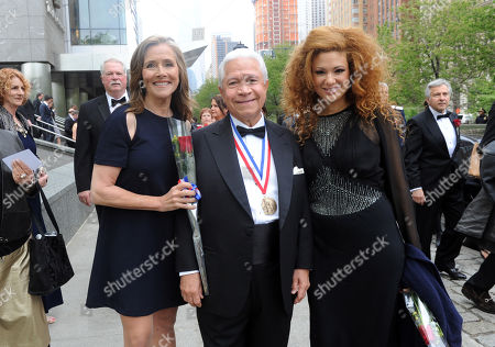 IMAGE DISTRIBUTED FOR NECO - Journalist Meredith Vieira, left, and Grammy Award-winning violinist Miri Ben-Ari, right, pose with Nasser J. Kazeminy, Chairman, National Ethnic Coalition of Organizations (NECO), before the 2015 Ellis Island Medal of Honor awards ceremony, in New York. Vieira and Ben-Ari were one of 101 award recipients. NECO's mission is to honor and preserve the diversity of the American people and to foster tolerance, respect and understanding among religious and ethnic groups