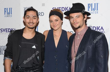 """Actors Mark Indelicato, left, Shailene Woodley and Shiloh Fernandez attend a special screening of """"White Bird In A Blizzard"""" at the Landmark Sunshine Theater, in New York"""