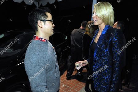 Danny Seo, left, and Jenna Elfman attend the Stella McCartney holiday party sponsored by Ford C-MAX Hybrid on in West Hollywood, Calif