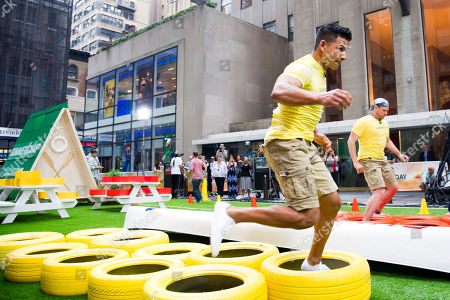 """Justin Jackson, right, and Moises Ramos from the cast of the USA Network's """"Summer Camp"""" appear on NBC's """"Today"""" show on in New York"""