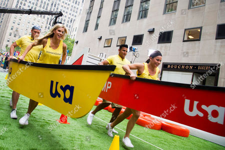 """Justin Jackson, from left, Brooke Mangum, Moises Ramos and Michelle Schexnayder from the cast of the USA Network's """"Summer Camp"""" appear on NBC's """"Today"""" show on in New York"""