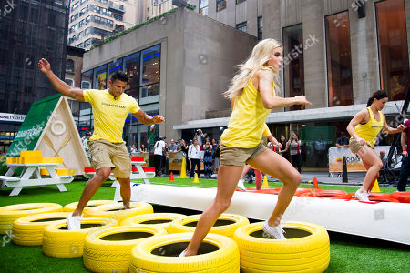 """Stock Image of Moises Ramos, from left, Brooke Mangum and Michelle Schexnayder from the cast of the USA Network's """"Summer Camp"""" appear on NBC's """"Today"""" show on in New York"""