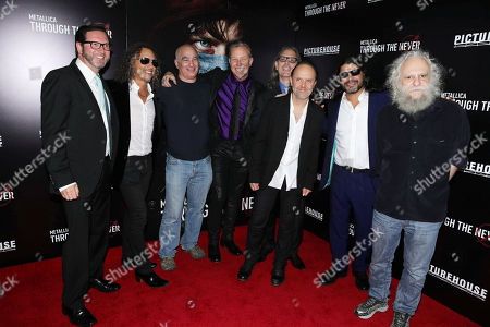 Q Prime's Marc Reiter, Writer/Executive Producer Kirk Hammett, Q Prime's Peter Mensch, Executive Producer/Writer James Hetfield, Tony DiCioccio, Writer Lars Ulrich, Writer/Executive Producer Robert Trujillo and Manager Cliff Burnstein seen at the US Premiere of Picturehouse's 'Metallica Through The Never' at the AMC Metreon Theater in San Francisco, CA. Picturehouse's 'Metallica Through The Never' opens exclusively in Imax 3D on Sept 27th, Everywhere, Oct 4th. Held on Monday, Sep, 16, 2013 in San Francisco, Calif