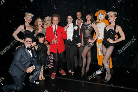 "Richard Simmons with Dita Von Teese and her cast Murray Hill, Selene Luna, Catherine D'Lish, Dirty Martini, Mr Romeo, Lada Nikolska, Prince Poppycock backstage at ""Burlesque: Strip Strip Hooray!"" Starring Dita Von Teese on in Los Angeles"